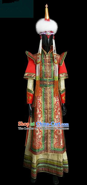 Traditional Chinese Mongol Nationality Dance Costume Princess Consort Wedding Dress, Chinese Mongolian Minority Nationality Embroidery Clothing for Women