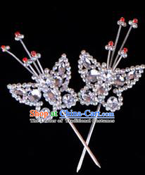 Traditional Beijing Opera Diva Hair Accessories Crystal Head Ornaments Butterfly Hairpin, Ancient Chinese Peking Opera Hua Tan Hairpins Headwear