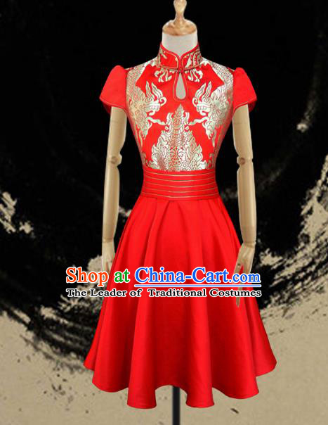 Traditional Chinese Mongol Nationality Dance Costume Female Red Full Dress, Chinese Mongolian Minority Nationality Embroidery Clothing for Women