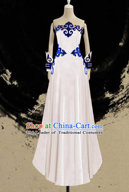 Traditional Chinese Mongol Nationality Dance Costume Female White Full Dress, Chinese Mongolian Minority Nationality Embroidery Clothing for Women