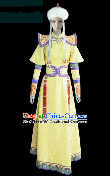 Traditional Chinese Mongol Nationality Dance Costume Princess Yellow Dress, Chinese Mongolian Minority Nationality Embroidery Mongolian Robe Clothing for Women