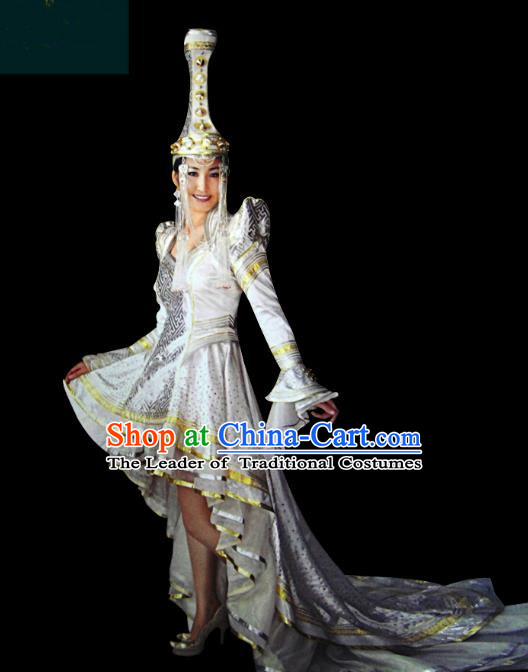 Traditional Chinese Mongol Nationality Dance Costume Princess Trailing Dress, Chinese Mongolian Minority Nationality Embroidery Mongolian Robe Clothing for Women