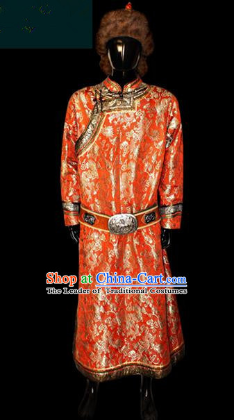 Traditional Chinese Mongol Nationality Dance Costume Mongolian Robe, Chinese Mongolian Minority Nationality Royal Highness Handmade Embroidery Costume for Men