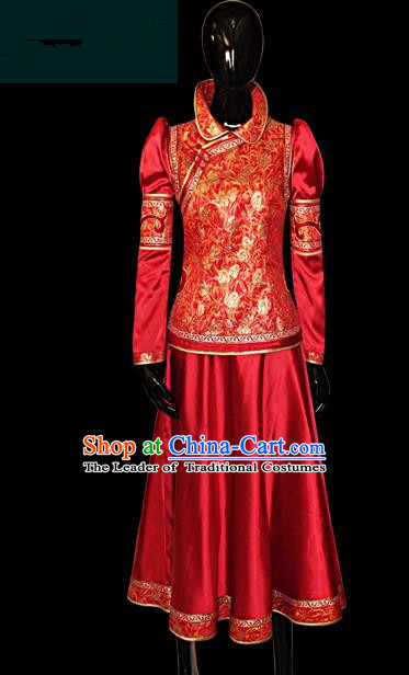 Traditional Chinese Mongol Nationality Dance Costume Female Red Mongolian Robe, Chinese Mongolian Minority Nationality Princess Embroidery Costume for Women