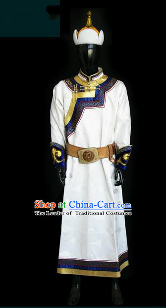 Traditional Chinese Mongol Nationality Dance Costume White Mongolian Robe, Chinese Mongolian Minority Nationality Prince Embroidery Costume for Men
