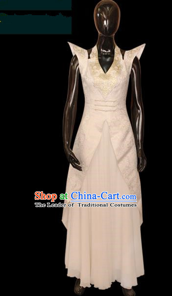 Traditional Chinese Mongol Nationality Dance Costume White Full Dress, Chinese Mongolian Minority Nationality Princess Embroidery Clothing for Women