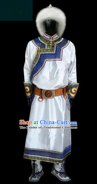 Traditional Chinese Mongol Nationality Dance Costume White Mongolian Robe, Chinese Mongolian Minority Nationality Royal Highness Clothing for Men