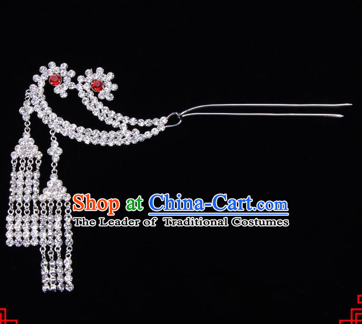 Traditional Beijing Opera Diva Hair Accessories Crystal Tassel Step Shake Phoenix Hairpins, Ancient Chinese Peking Opera Hua Tan Hair Stick Headwear