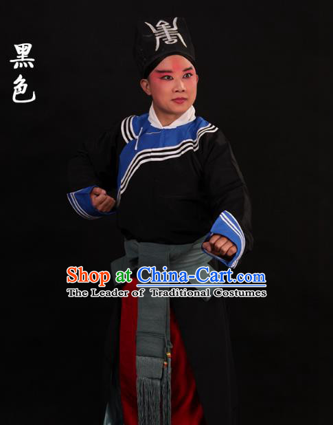 Traditional China Beijing Opera Takefu Black Costume, Ancient Chinese Peking Opera Wu-Sheng Warrior Government Gwanbok Clothing