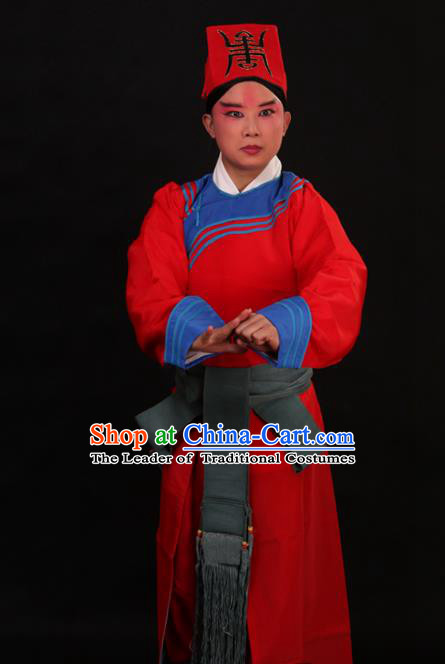 Traditional China Beijing Opera Takefu Red Costume, Ancient Chinese Peking Opera Wu-Sheng Warrior Government Gwanbok Clothing