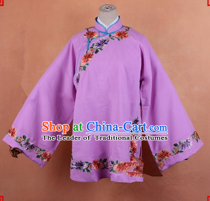 Top Grade Professional Beijing Old Women Costume Pantaloon Embroidered Pink Blouse, Traditional Ancient Chinese Peking Opera Matchmakers Embroidery Clothing
