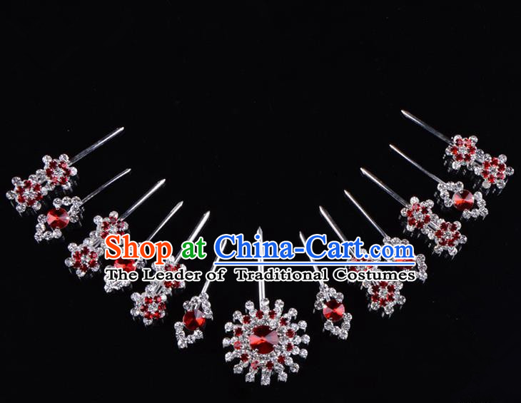 Traditional Beijing Opera Diva Hair Accessories Red Crystal Hairpins Head Ornaments Complete Set, Ancient Chinese Peking Opera Hua Tan Hair Stick Headwear