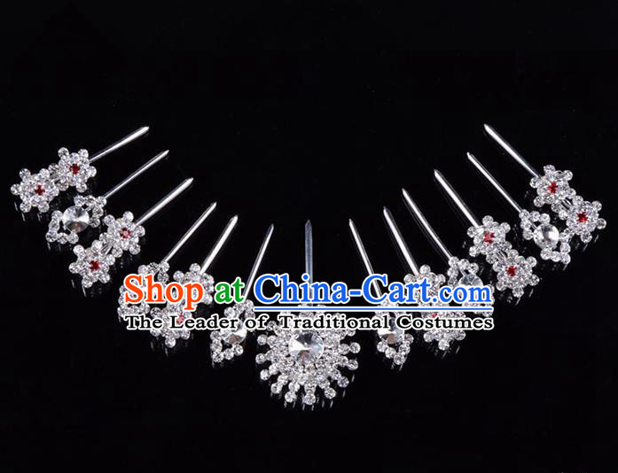 Traditional Beijing Opera Diva Hair Accessories Crystal Hairpins Head Ornaments Complete Set, Ancient Chinese Peking Opera Hua Tan Hair Stick Headwear