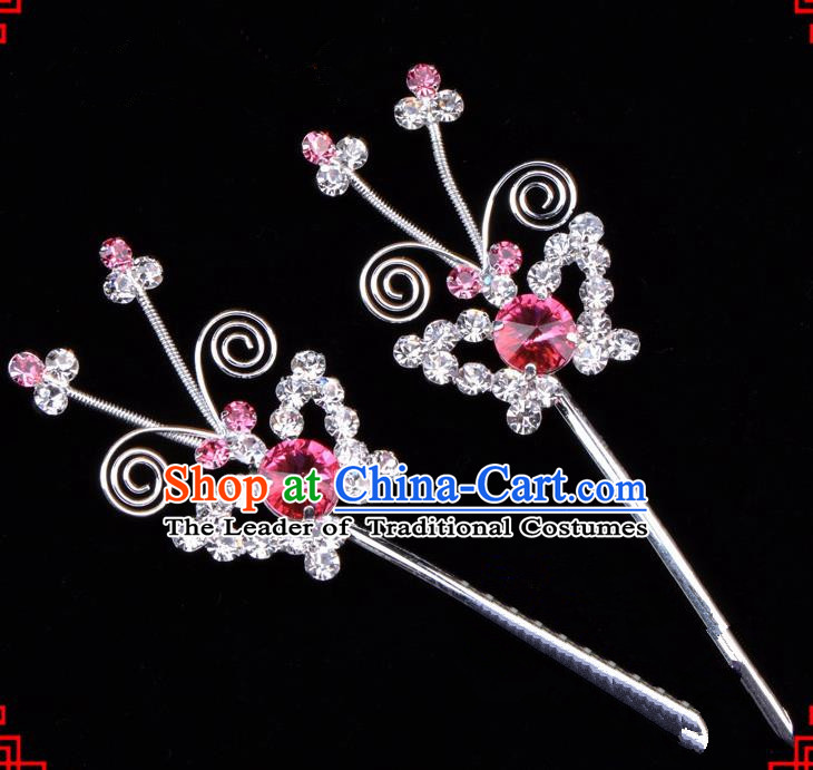 Traditional Beijing Opera Diva Hair Accessories Pink Crystal Butterfly Hairpins, Ancient Chinese Peking Opera Hua Tan Hair Stick Headwear
