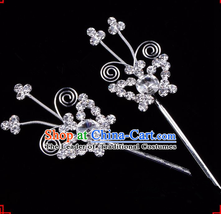 Traditional Beijing Opera Diva Hair Accessories Crystal Butterfly Hairpins, Ancient Chinese Peking Opera Hua Tan Hair Stick Headwear