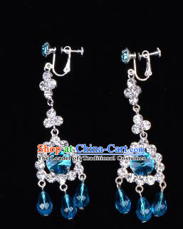 Traditional Beijing Opera Diva Jewelry Accessories Blue Crystal Earrings, Ancient Chinese Peking Opera Hua Tan Tassel Eardrop