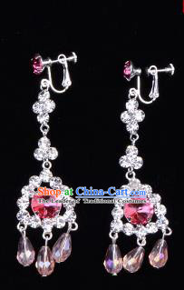 Traditional Beijing Opera Diva Jewelry Accessories Pink Crystal Earrings, Ancient Chinese Peking Opera Hua Tan Tassel Eardrop