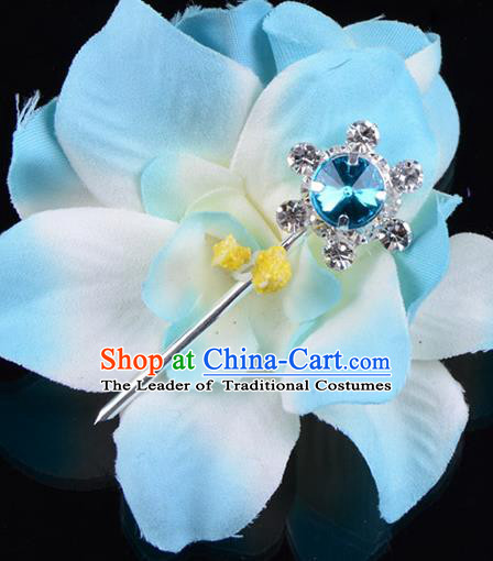 Traditional Beijing Opera Diva Hair Accessories Blue Crystal Hair Stick, Ancient Chinese Peking Opera Hua Tan Hairpins