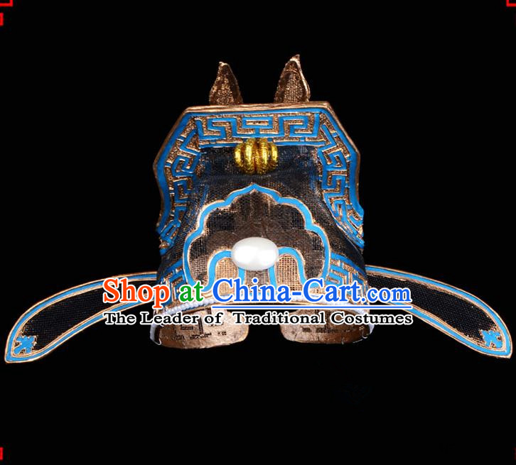 Traditional Beijing Opera Niche Hair Accessories Lang Scholar Hat, Ancient Chinese Peking Opera Emperor Son-in-law Hat Headwear