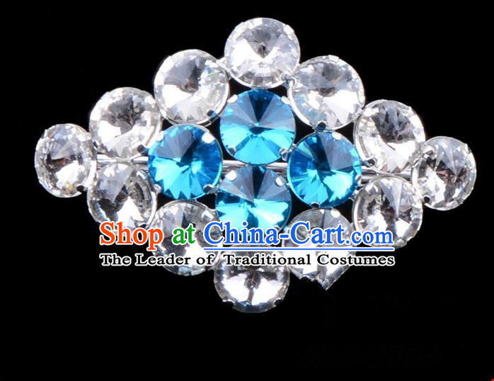 Traditional Beijing Opera Young Lady Jewelry Accessories Diva Blue Crystal Brooch, Ancient Chinese Peking Opera Hua Tan Breastpin