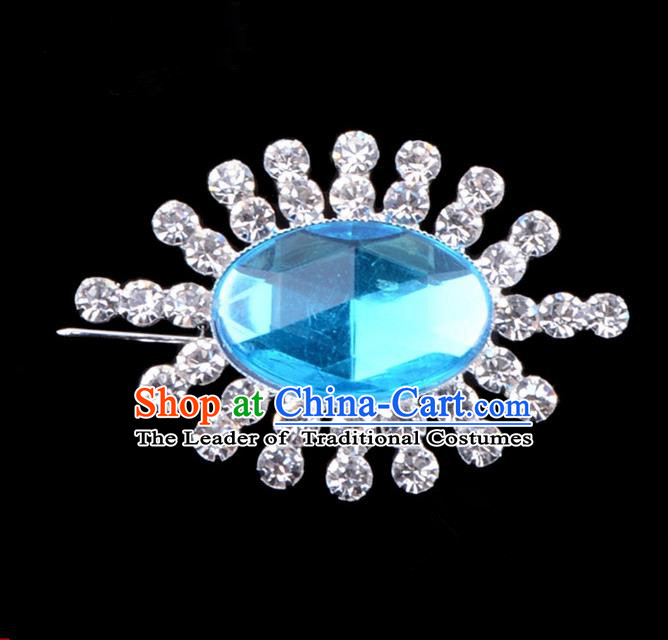 Traditional Beijing Opera Young Lady Jewelry Accessories Diva Crystal Blue Brooch, Ancient Chinese Peking Opera Hua Tan Breastpin