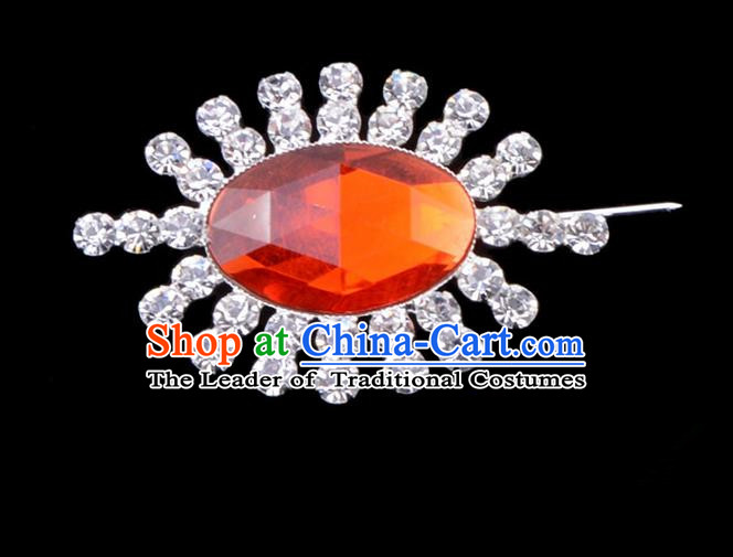Traditional Beijing Opera Young Lady Jewelry Accessories Diva Crystal Red Brooch, Ancient Chinese Peking Opera Hua Tan Breastpin