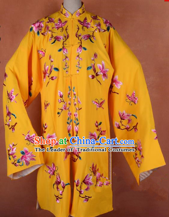 Top Grade Professional Beijing Opera Young Lady Costume Hua Tan Yellow Embroidered Outerwear, Traditional Ancient Chinese Peking Opera Diva Embroidery Mangnolia Clothing