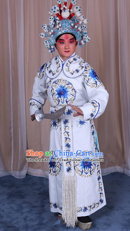 Traditional China Beijing Opera Takefu General Costume, Ancient Chinese Peking Opera Wu-Sheng Warrior Embroidery White Clothing