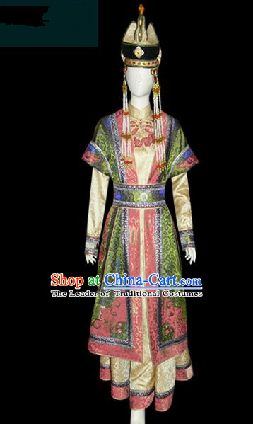 Traditional Chinese Mongol Nationality Dance Costume, Female Folk Dance Green Satin Mongolian Robe, Chinese Mongolian Minority Nationality Embroidery Costume for Women