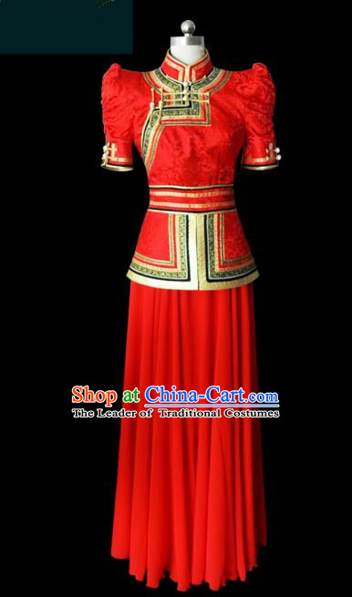 Traditional Chinese Mongol Nationality Folk Dance Costume Red Mongolian Robe, Chinese Mongolian Minority Nationality Princess Embroidery Costume for Women