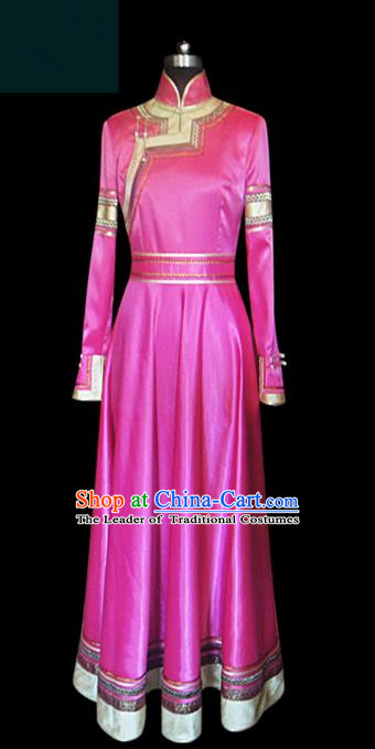 Traditional Chinese Mongol Nationality Dance Costume Princess Rosy Mongolian Robe, Chinese Mongolian Minority Nationality Embroidery Clothing for Women