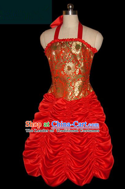 Traditional Chinese Mongol Nationality Dance Costume Female Red Bubble Dress, Chinese Mongolian Minority Nationality Princess Embroidery Clothing for Women