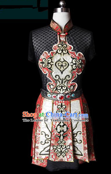 Traditional Chinese Mongol Nationality Dance Costume Female Dress, Chinese Mongolian Minority Nationality Princess Embroidery Clothing for Women
