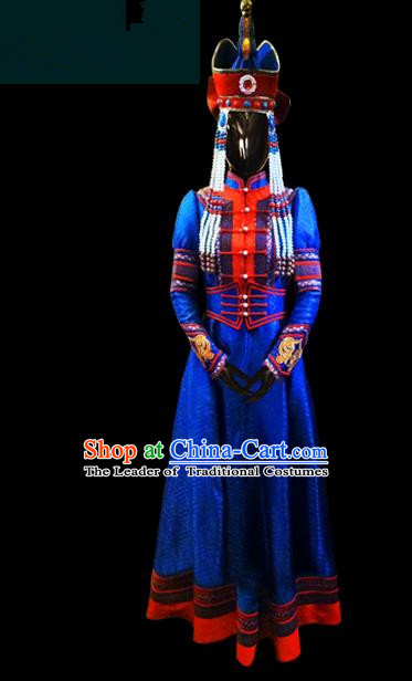 Traditional Chinese Mongol Nationality Dance Costume Female Royalblue Dress, Chinese Mongolian Minority Nationality Princess Mongolian Robe Embroidery Clothing for Women
