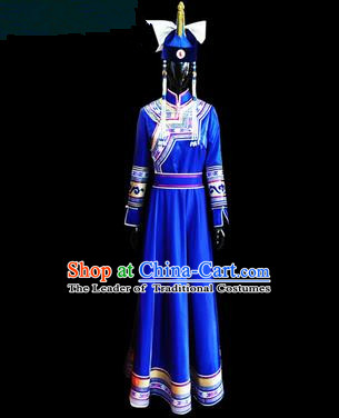 Traditional Chinese Mongol Nationality Dance Costume Female Dress, Chinese Mongolian Minority Nationality Princess Blue Mongolian Robe Embroidery Clothing for Women