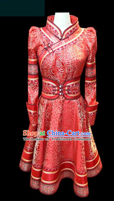Traditional Chinese Mongol Nationality Dance Costume Young Lady Dress, Chinese Mongolian Minority Nationality Princess Mongolian Robe Embroidery Clothing for Women