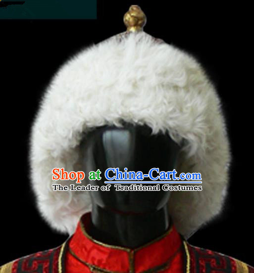 Traditional Chinese Mongol Nationality Hair Accessories Mongols King Hat, Chinese Mongolian Minority Nationality Headwear for Men