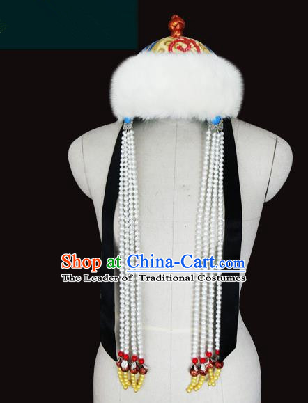 Traditional Chinese Mongol Nationality Hair Accessories Mongols King Wool Hat, Chinese Mongolian Minority Nationality Headwear for Men