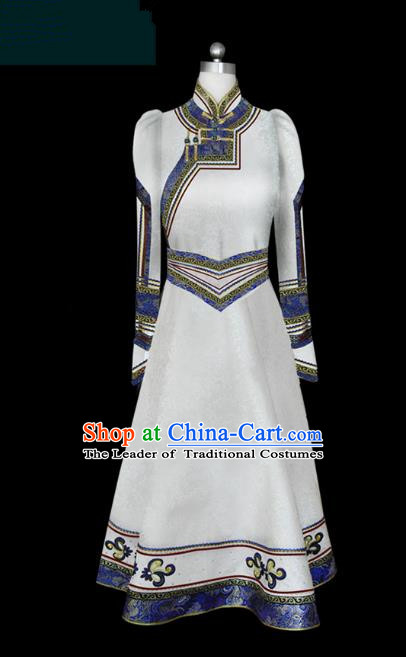Traditional Chinese Mongol Nationality Dance Costume Female White Mongolian Robe, Chinese Mongolian Minority Nationality Princess Embroidery Costume for Women