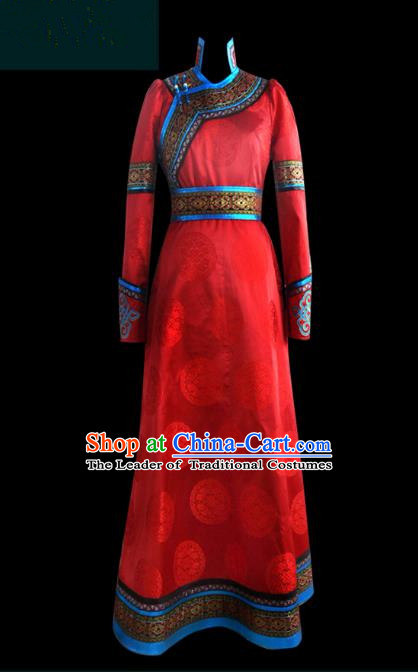 Traditional Chinese Mongol Nationality Dance Costume Palace Lady Red Mongolian Robe, Chinese Mongolian Minority Nationality Princess Embroidery Costume for Women