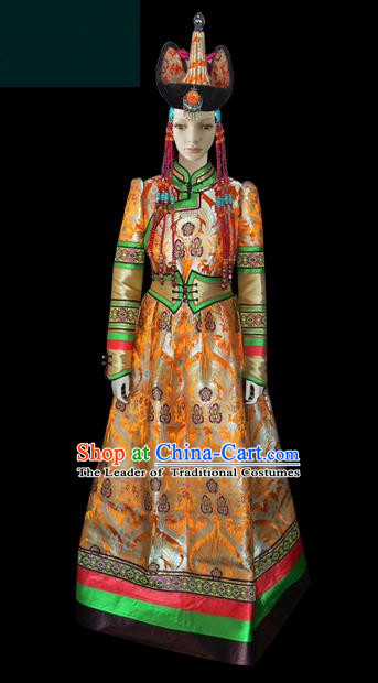 Traditional Chinese Mongol Nationality Dance Costume Palace Lady Golden Mongolian Robe, Chinese Mongolian Minority Nationality Princess Embroidery Costume for Women