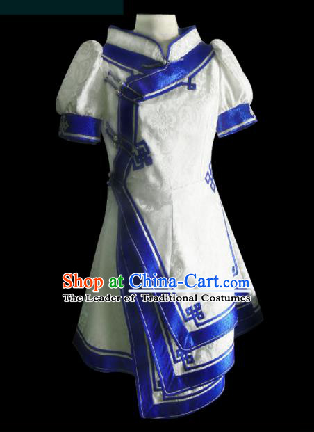 Traditional Chinese Mongol Nationality Dance Costume Palace Lady White Mongolian Robe, Chinese Mongolian Minority Nationality Princess Embroidery Costume for Women