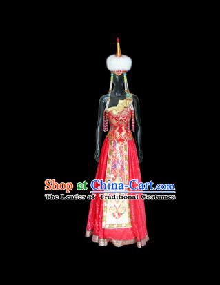 Traditional Chinese Mongol Nationality Dance Costume Palace Lady Red Mongolian Robe, Chinese Mongolian Minority Nationality Princess Embroidery Wedding Costume for Women