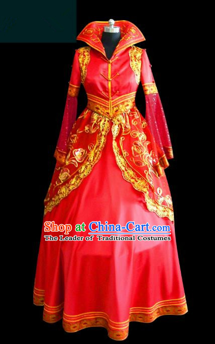 Traditional Chinese Mongol Nationality Dance Costume Palace Lady Red Wedding Mongolian Robe, Chinese Mongolian Minority Nationality Princess Embroidery Costume for Women