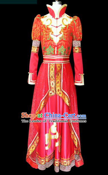 Traditional Chinese Mongol Nationality Dance Costume Female Red Pleated Skirt, Chinese Mongolian Minority Nationality Princess Embroidery Wedding Costume for Women