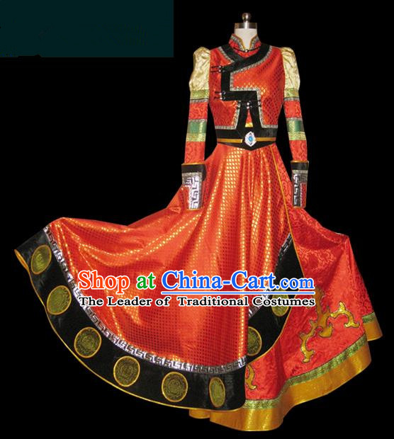 Traditional Chinese Mongol Nationality Dance Costume Young Lady Rosy Pleated Skirt, Chinese Mongolian Minority Nationality Princess Embroidery Wedding Costume for Women