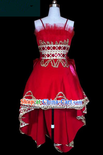 Traditional Chinese Modern Dancing Compere Performance Costume, Opening Classic Chorus Singing Group Dance Red Bubble Dress for Women