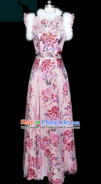 Traditional Chinese Modern Dancing Compere Performance Costume, Opening Classic Chorus Singing Group Dance Pink Cheongsam for Women