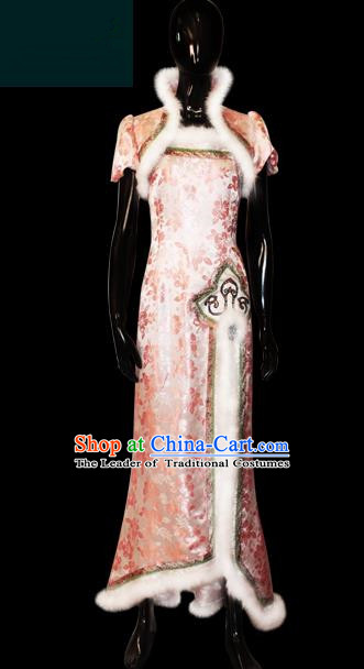 Traditional Chinese Modern Dancing Compere Performance Costume, Opening Classic Chorus Singing Group Dance Pink Cheongsam Dress for Women