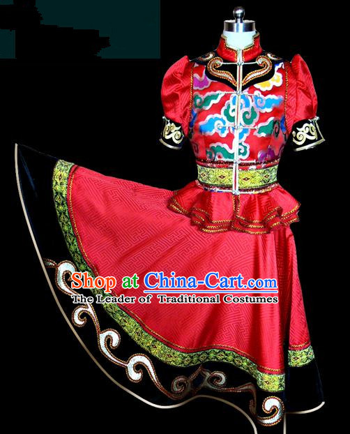 Traditional Chinese Mongol Nationality Dance Costume Female Red Pleated Skirt, Chinese Mongolian Minority Nationality Princess Embroidery Clothing for Women
